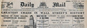 Interbellum - Wall Street Crash 1929 Daily Mail - Bron: www.history.com