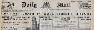 Interbellum - Wall Street Crash 1929 Daily Mail - Bron: www.history.com